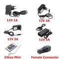 LED Power Supply 12V 1A 2A 3A 5A Adapter Driver AC 100~240V Transformer EU US Plug With 24key IR Remote Controller And Connector