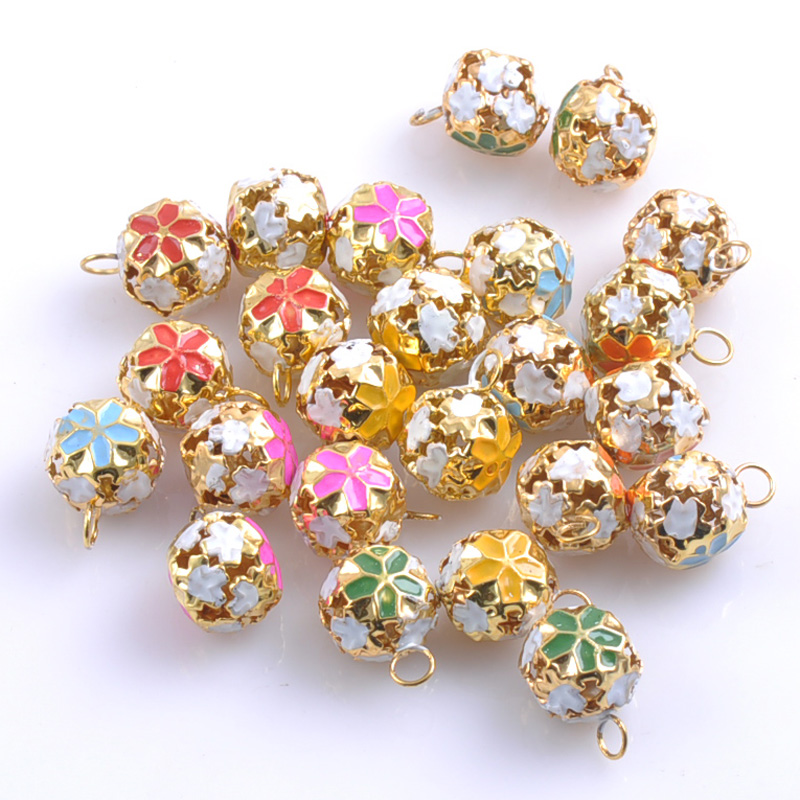 30pcs lot colorful jingle bells gold plated flower shaped for Handmade decoration pieces