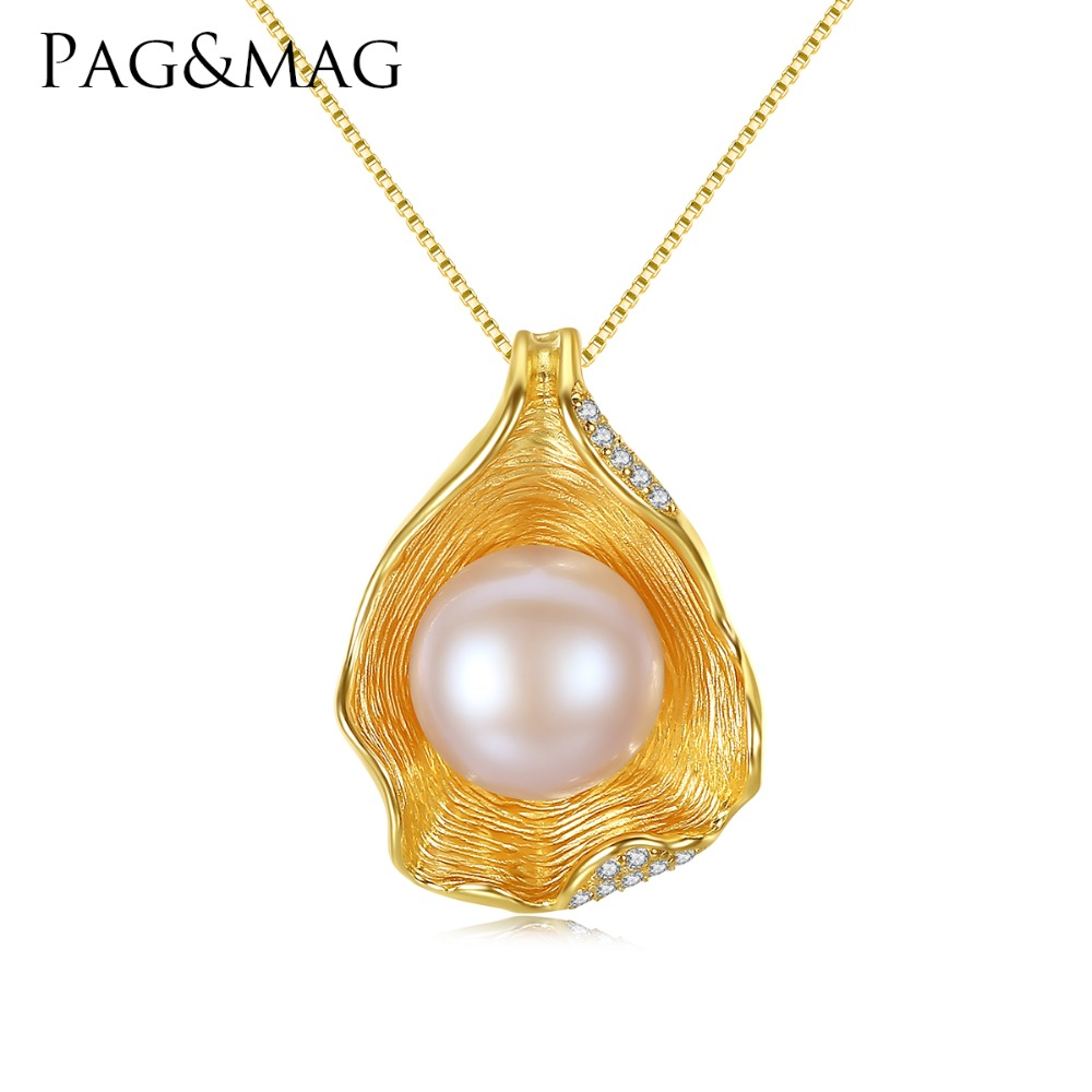 PAG&MAG Charm Shell Design Pearl Jewelry 925 Sterling Silver Jewelry Fashion Pearl Pendant Necklaces for Women 18k Gold Color image