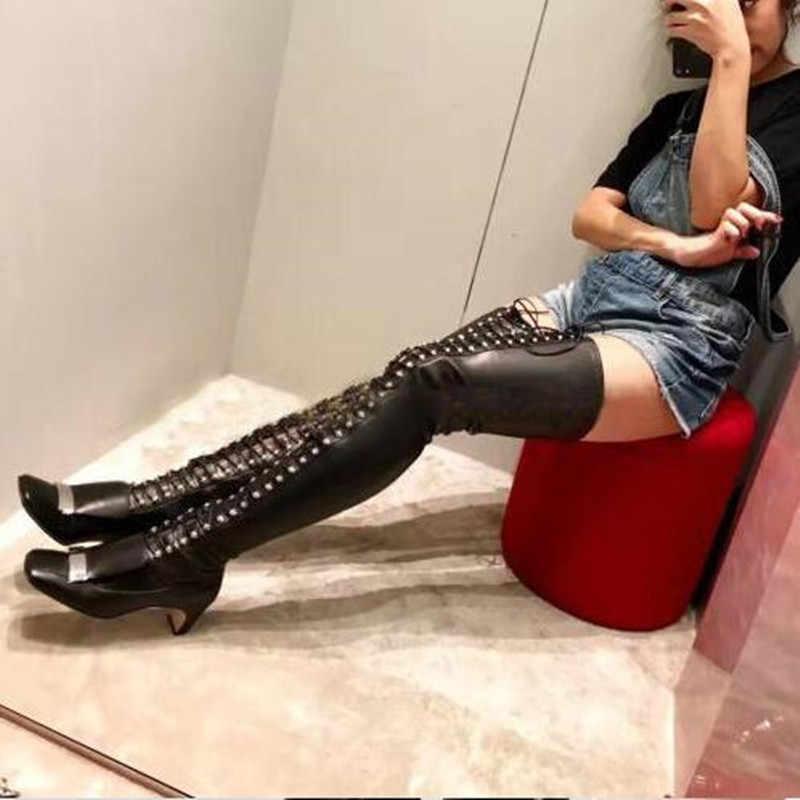 MStacchi 2019 Nieuwste Mode Lace-up Merk Klinknagel Over De Knie Laarzen Echte Lederen Vierkante Teen Designer Laarzen Vrouwen extra Big Size