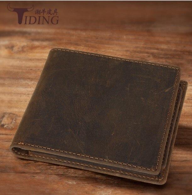 Real Leather Wallet Men stardard Wallets 2018Brand Vintage Genuine Leather Cowhide Short Men's Wallet Purse With Coin Pocket