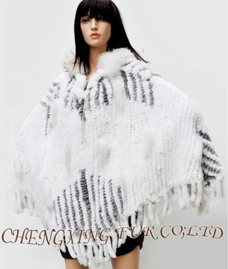 CX-B-110B Latest Large Hand Knitted Genuine Rabbit Fur Fringed Poncho Shawl With Hood