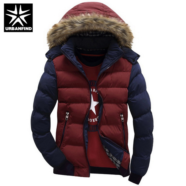 URBANFIND Contrast Color Hooded Design Men Parka Size M-3XL Casual & Fit Men's Winter Jacket Stand Collar Thick Man Down Jacket