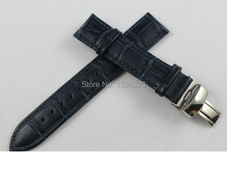 19mm (Buckle18mm) PRC200 T055410 T17 T41 T461 High Quality Silver Butterfly Buckle + Blue Genuine Leather Watch Bands Strap
