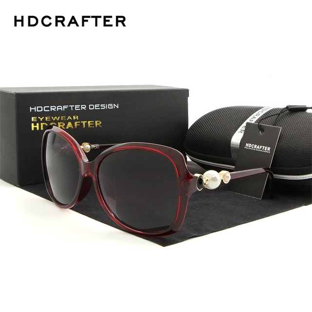 04cc1ebac57533 HDCRAFTER Zwarte Retro Zonnebril Vrouwen Gepolariseerde Lens Bril Cat Eye  Parel Zonnebril voor Vrouwelijke Merk Designer