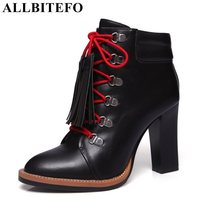 ALLBITEFO New Arrive Genuine Leather Pointed Toe Thick Heel Platform Women Boots Sexy High Heels Winter