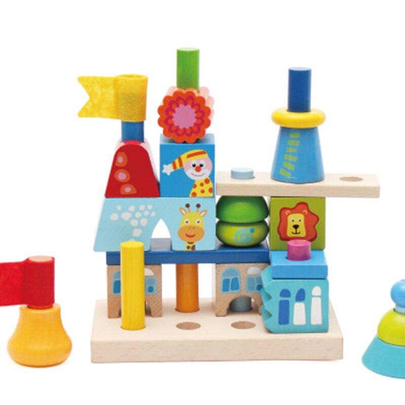 Enfants En Bois blocs à empiler Arc-En-Tour Jenga Forme Correspondant jouet puzzle blocs de construction L'éducation Oyuncak cadeau d'anniversaire