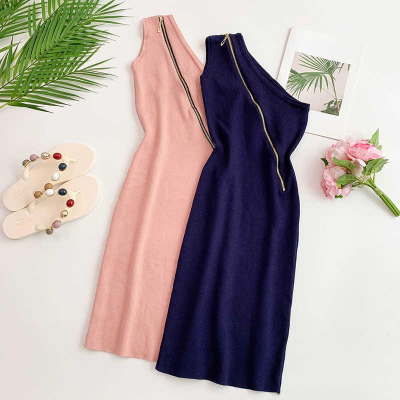 ALPHALMODA 2019 один на плечо округлая молния Для женщин летние пикантные вязаное платье облегающий однотонный мини-платья, Vestidos, для детей; сезон лето