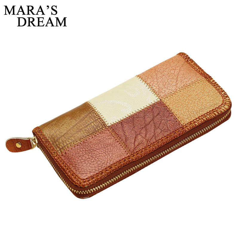 Mara's Dream 2019 Genuine Leather Women Wallets Long Clutch Bags Patchwork Purse Female Card Wallets Big Capacity Carteira Women