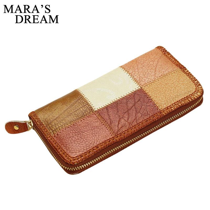 Mara's Dream 2019 Genuine Leather Women Wallets Long Clutch Bags Patchwork Purse Female Card Wallets Big Capacity Carteira Women