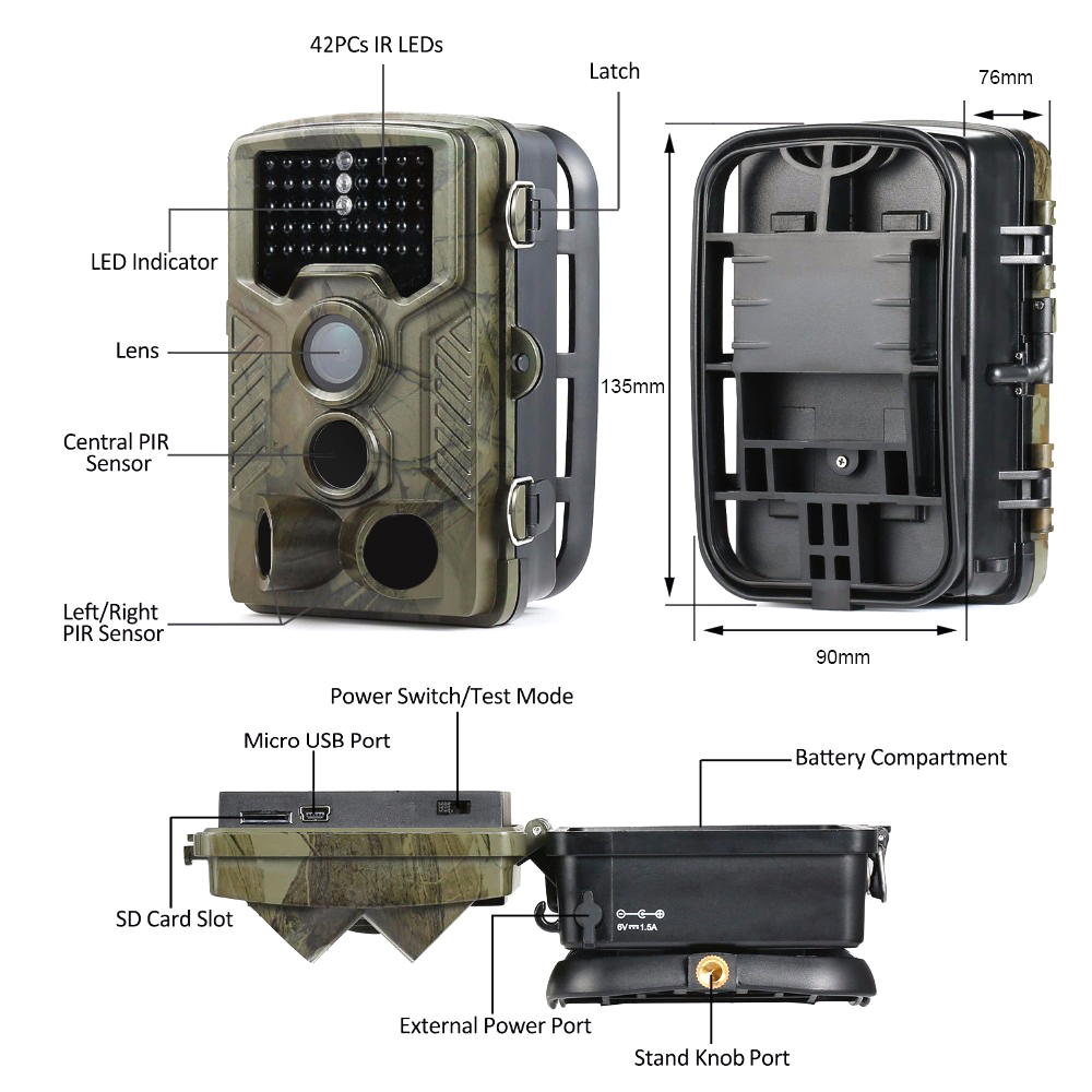 Suntekcam 16MP 1080 P охотничья камера для дикой природы фото ловушка слежения наблюдения Камера s Ночное видение HC800A