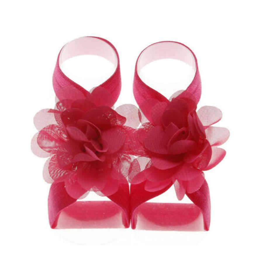 1 par de hermosas sandalias descalzas con banda para pie de girasol para bebé Niña Zapatos de muñeca accesorios para foto de flores