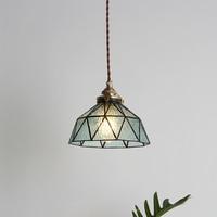 Nordic simple hand stitched glass single head pendant lamp Japanese retro E14 blue porch decorative LED bulb lighting 90V~260V