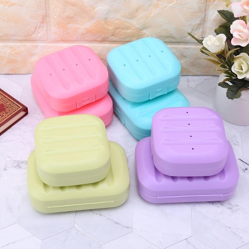 Square Mini Soap Box Bathroom Dish Plate Case Home Shower Travel Holder Container Cute