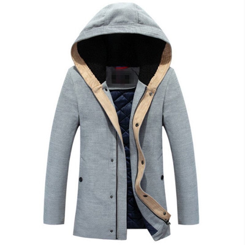 Free shipping 2017 New Cashmere Cotton Coat New Male Mens Winter Hooded Casual Fashion Cool