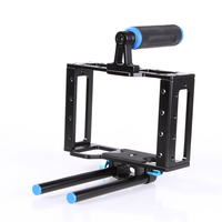 Aluminum DSLR Camera Cage Kit Support For Canon 5D Mark II 7D 60D 15mm Rod Rig
