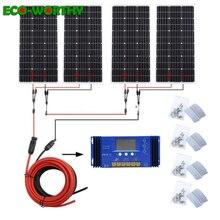 ECOworthy 400 ワットソーラーシステム: 4 個 100 ワットモノラル太陽光発電パネル & 60A コントローラ & 5 メートル黒赤ケーブル Y MC4 充電のための 12 V バッテリー