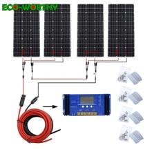 Sistema solar ecocorthy de 400 W: panel de energía solar mono de 4 piezas de 100 W Y controlador de 60A Y cables rojos negros de 5 m Y carga MC4 para batería de 12 V