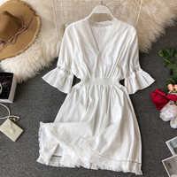 Богемные платья хиппи бохо белое платье женское платье с глубоким v-образным вырезом 2020 льняное летнее платье Femme с кисточками Vestidos Сексуаль...