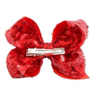 Image 4 - Clips pour cheveux à paillettes, 18 pièces, 6 pouces, arcs en ciel, paillettes dalligator, accessoires pour bébés filles et tout petits