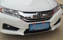 For Honda City Sedan 2014 2015 2016 ABS Chrome plastic Front Center Grille Grill U-Shape Cover Stripe Trim