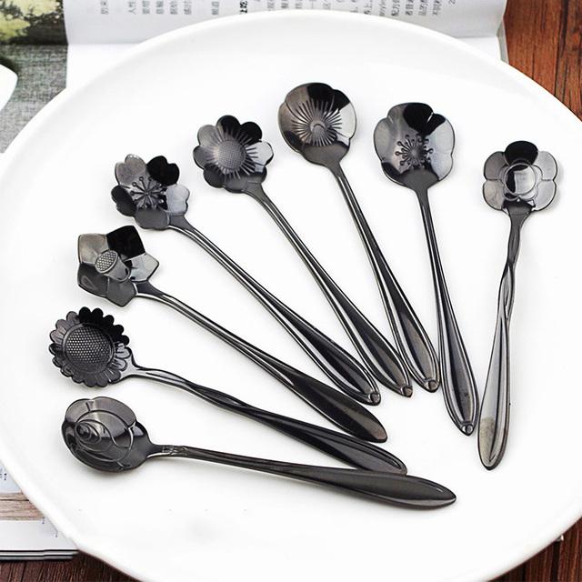 8pcs/set Stainless Coffee Spoon Flower Shape Dessert Spoon Ice Cream Candy Tea Spoon Stirring Snacks Scoop Tableware Flatware
