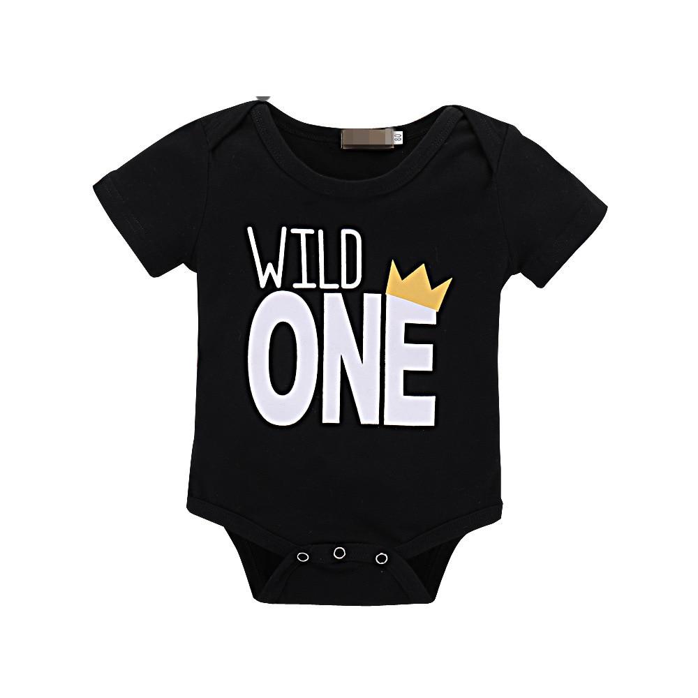 2018 Newborn Onesie Toddler Bodysuit Wild One Letter Print Short Sleeve Black Bodysuit Kids Baby Summer Clothes Cotton