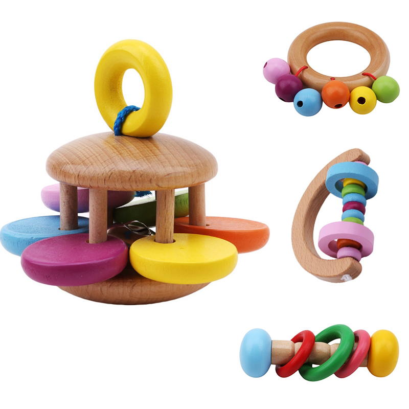 Wooden Rattle Musical Education Toys For Baby Instrument Rattles Toys For Children Creative Colorful Wooden Rattle Popular Toy