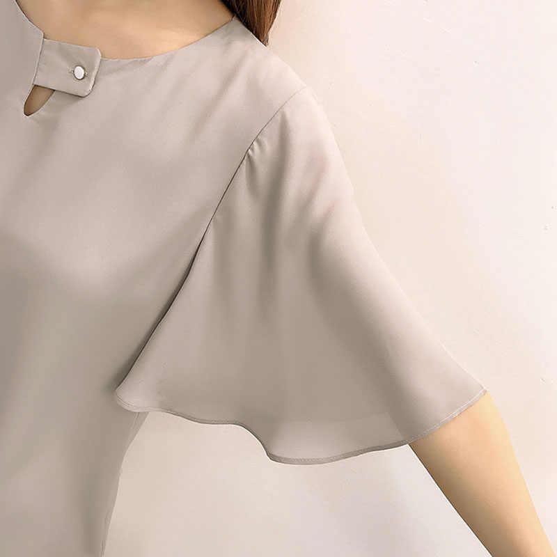 Женская блузка 2019, рубашка с коротким рукавом, женские блузки, модная одежда больших размеров, женские стильные топы, женская одежда, лето 477