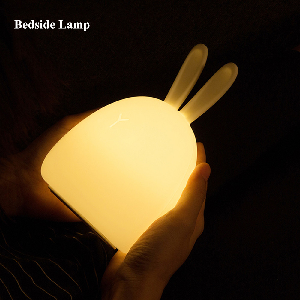 SuperNight Rabbit LED Night Light Vibration Touch Sensor Colorful USB Silicone Bunny Bedside Table Lamp for Children Kids Baby (1)