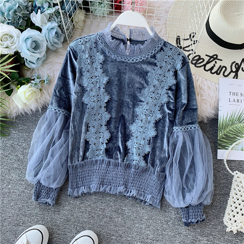 2019 Autumn Lace Velvet Blouse Shirt Lantern Sleeve Elegant Winter Pullover Mesh Shirts Tops