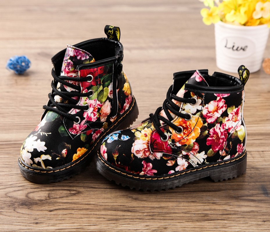 2019 New Kids Girls Boots Autumn And Winter PU Leather Waterproof Boots Zip Rome Children Martin Boots Fashion Baby Girl Shoes
