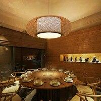 SGROW светодио дный Bamboo ручной вязки абажур с плоской свет Креативный дизайн Deco подвесной светильник для Гостиная Обеденная Art Lampara