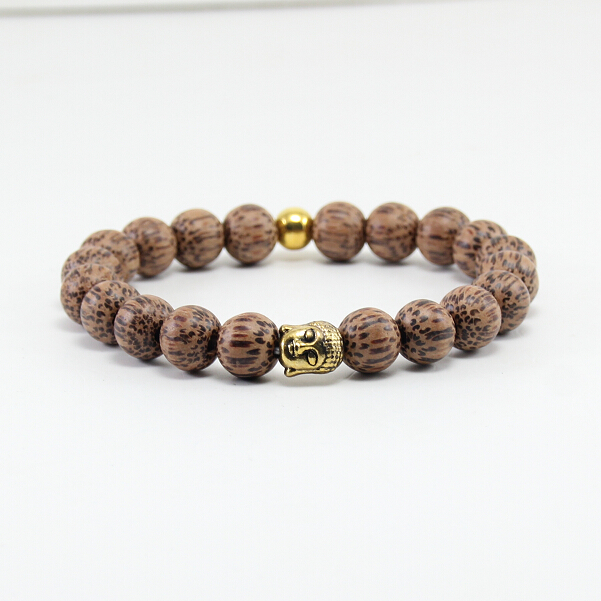FATONG BB0336 selling natural wood bead bracelet, ancient gold Buddha head bracelet, men and boys woodwork bracelet.