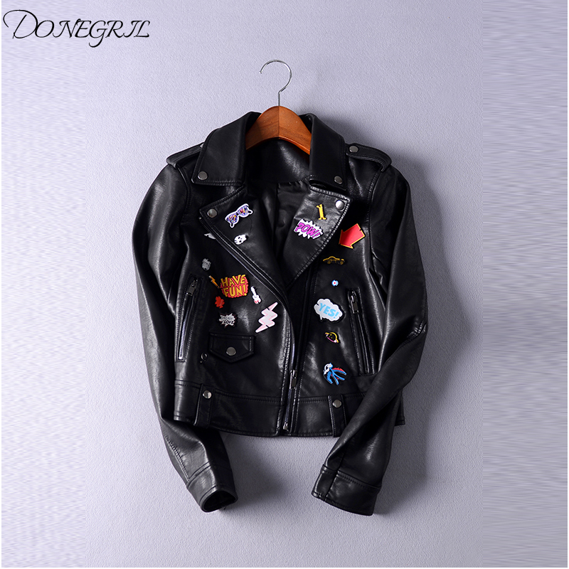 2018NEW autumn and winter new flight jacket badge lapel jacket women's   leather   clothing