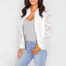 Women Jackets New 2017 Women Basic Coats Lace Openwork Jacket Black White Jacket Female Stand Collar Plus Size Jackets For Women