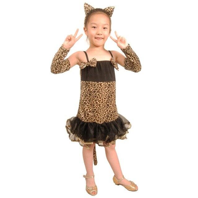 kids leopard costume little girls leopard print dress tutu skirt children animal costume halloween costumes for