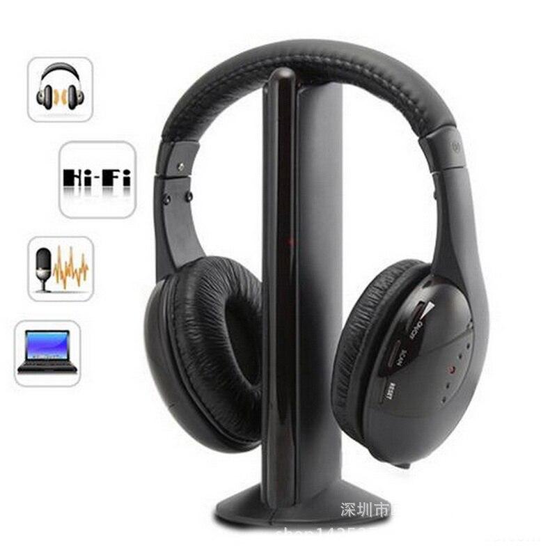 Écouteurs stéréo Sans Fil, écouteurs Hi-Fi, casque d'écoute Sans Fil avec Microphone, Radio FM pour ordinateur