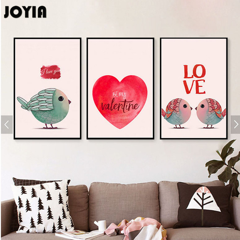 Wall Decoration For Wedding Anniversary : Loving birds watercolor canvas prints in love art