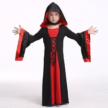 Kids Vampire Dress Costume Halloween Costume For Girls Stage & Dance Wear Toddler Long Sleeve Hooded Robe Party Cosplay