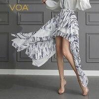 VOA Silk Georgette Shorts Plus Size 5XL Women Sweet Cute Summer Boho Casual Sexy Irregular Mid Waist Leisure Comfort K537