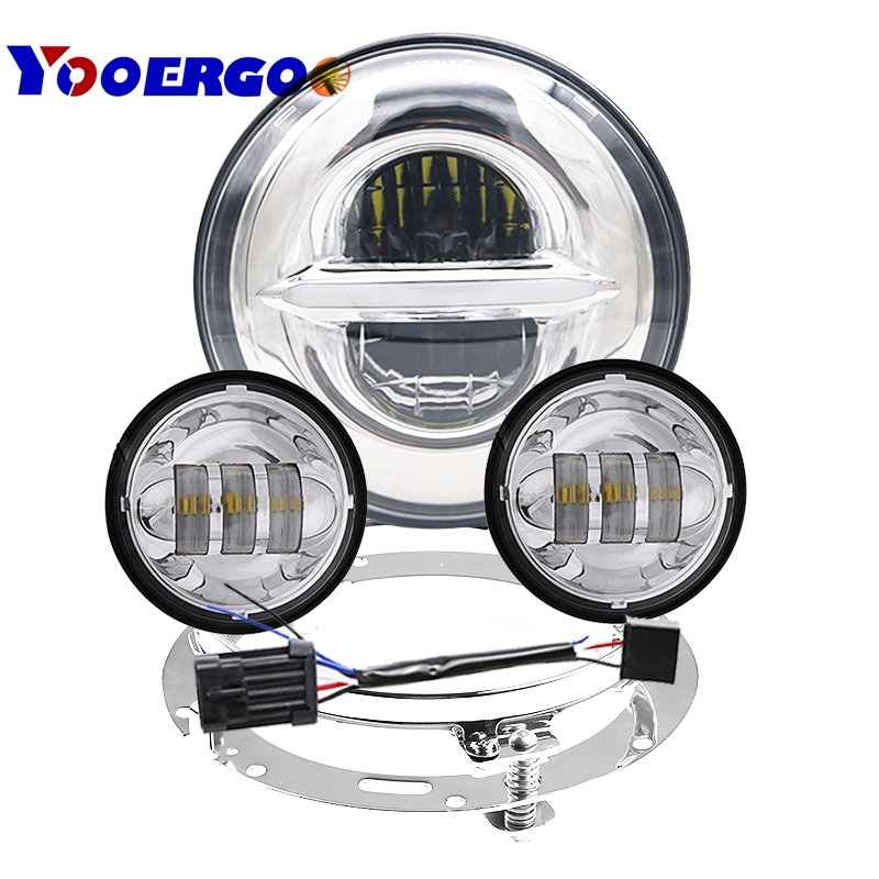 DOT 7 inch LED Headlight Kit Fog Passing Light for Harley Davidson Daymaker Ultra Classic Electra Street Glide Tri Cvo Road King 7 inch led headlight motorbike suit 7headlight monting ring fog lights for harley davidson electra glide road king street glide