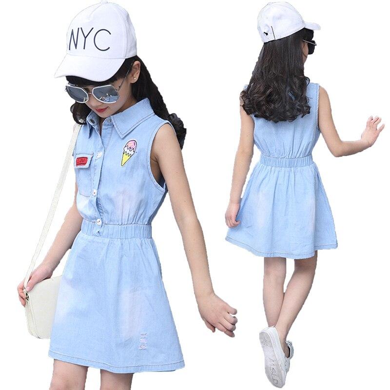 Summer Children Girls Dress 2018 Fashion Denim Kids Dresses for Girls 6-14 Year Toddlers Teens Childrens Clothes T47