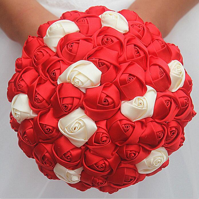 7 3 47 De Reduction Wifelai Un Meilleur Prix Ruban De Satin Rose Fleur Bouquets De Mariage Bouquet De Mariee Fleur Rouge Ivoire Boque Noiva