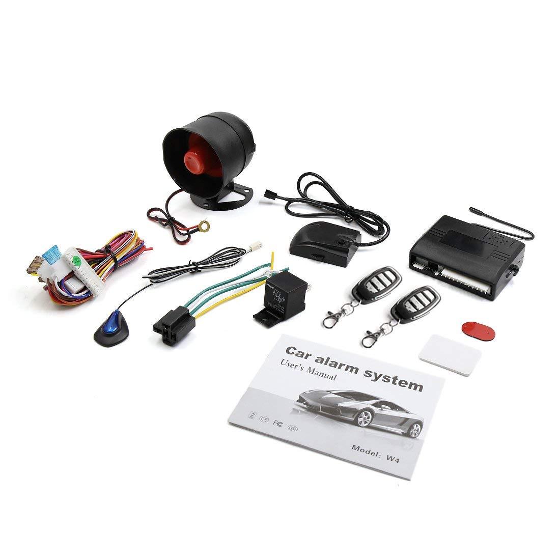 X AUTOHAUX système d'alarme de sécurité sans clé pour voiture 1 sirène antivol pour véhicule avec 2 télécommandes 12 V