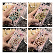for Samsung Galaxy J3 J5 J4 J6 J7 J8 2018 A6 A8 A7 A5 A3 3D Bling Luxury Crystal Rhinestone Peacock Diamond Soft Case Phones