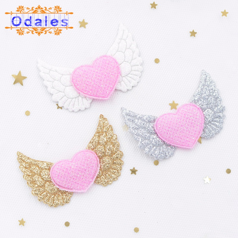 16Pcs Glitter Powders Heart Angel Wing Appliques Colorful Cupid Fairy for DIY Clothes Hat Headwear Decor Patches