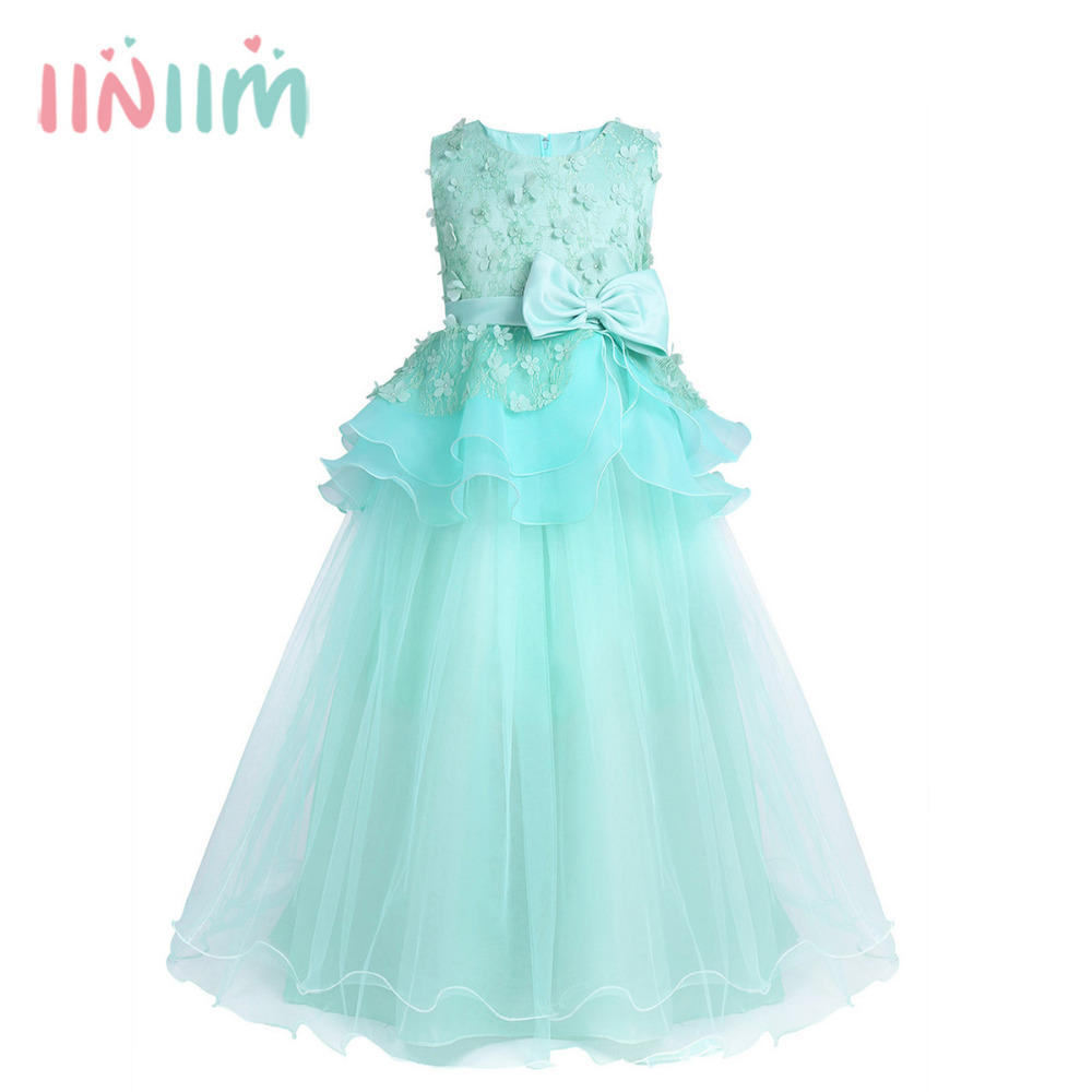 Girls Mesh Lace Sleeveless Tiered Bowknot 3D Flower Girl Dress Princess Pageant Wedding Bridesmaid Birthday Party Dress SZ 2-12 girls lace mesh half sleeves dress for princess pageant wedding bridesmaid birthday formal party