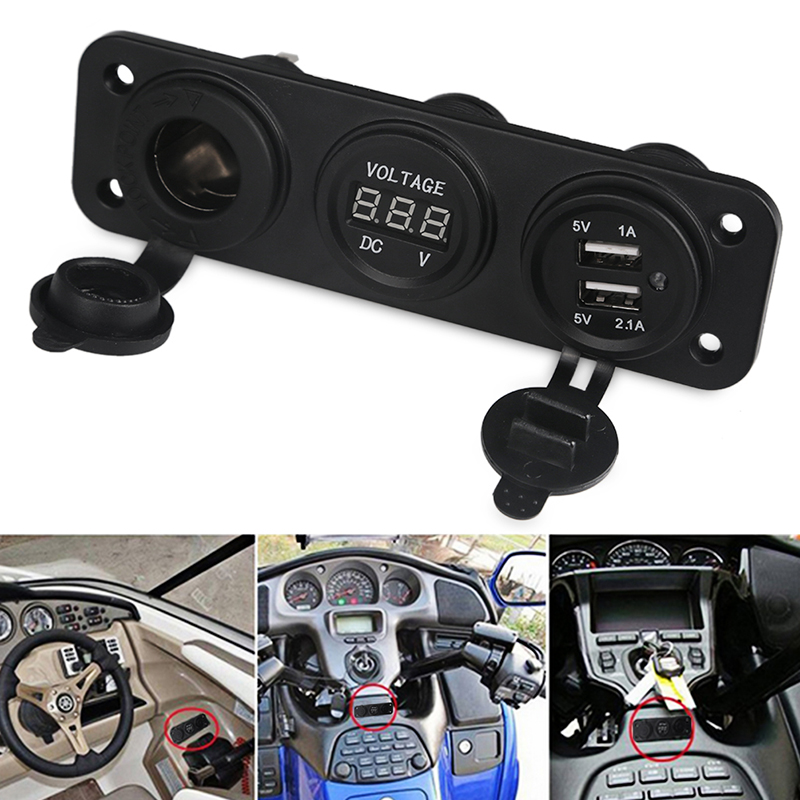 Boat 12v Dual USB Charger Car Cigarette Lighter Voltmeter Socket Adaptor Auto Motorcycle USB Voltmeter Car Voltage Meter Charger