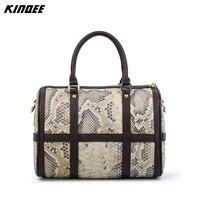 Messenger Bags Boston Handbag Women Patchwork Python Snake Crossbody Bags Bolsa Feminina Split Leather Designer High